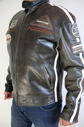 Jacke Real Leather Grau