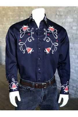 Rockmount Ranch Wear Westernhemd Tulip Embroidery Navy