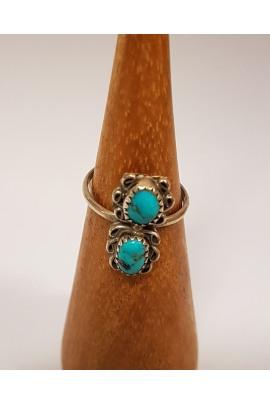 Indianischer Silberring mit Türkissteinen Navajo