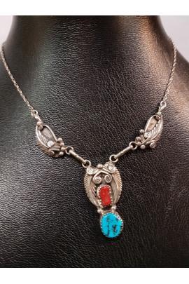 Indianische Silberkette Handarbeit mit Türkis und Koralle