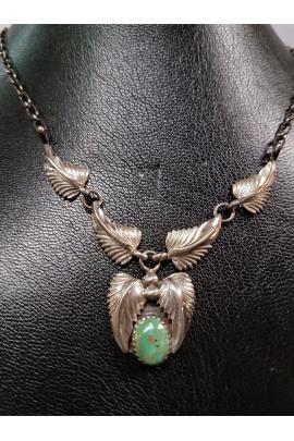 Indianische Silberkette Handarbeit mit grünem Türkis