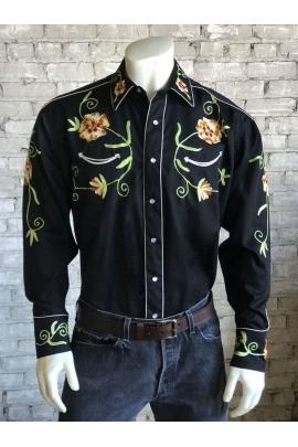 Rockmount Ranch Wear Westernhemd Herren Floral Embroidery Gabardine