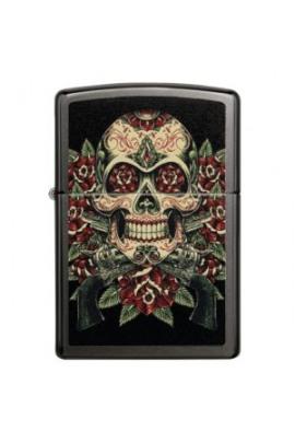Zippo Skull Roses Design