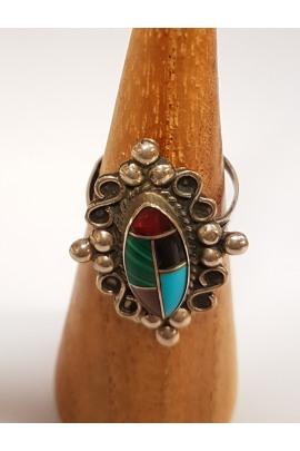 Indianischer Silberring  mit 5 Steine