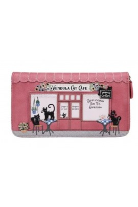 Vendula Cat Cafe Large Ziparound Wallet